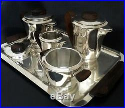 French Art Deco Five-Piece Coffee & Tea Service on Tray by François FRIONNET