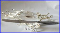 French Vintage 7 piece silver plate horse set- knife rests and bottle opener
