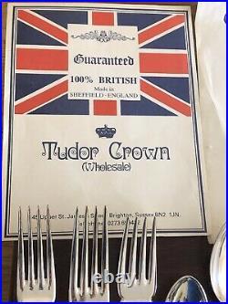 GADROON Design 74 Piece TUDOR CROWN Sheffield Silver Service Canteen of Cutlery