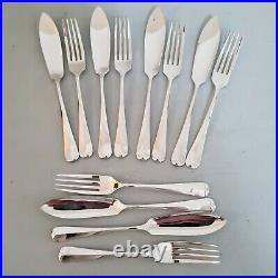 George Butler 50 Piece Canteen of Cutlery Rare Pistol & Rattail in Wooden Box