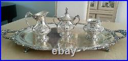 Gorgeous Reed & Barton KING FRANCIS Silverplate Coffee/Tea Pot Set 7 pieces