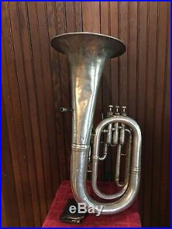 JW York & Sons Silver 3 Valve Euphonium Ser#34055 With Case and 3 Mouth Pieces