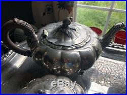 Large 5 Piece Old English Melon Community Silverplate Coffee Tea Set