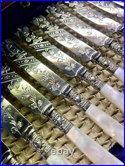 Lovely Knife & Fork Antique 24 Piece dessert Set, Silver Plated, Mother Of Pearl