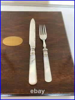 Mahogany Cased 24 Piece Mother Of Pearl & Silver Plated Fruit Knives & Forks (2)