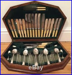 Massive 70 Piece Canteen Antique Cutlery Box Silver Plate & Special Handles