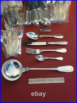 Ménagère Filet Superbe 49 Pieces Ercuis Silver Plated Flatware Set