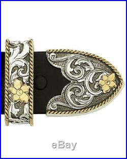 Montana Silversmiths Antiqued Two-Tone Filigree 3-Piece Belt Buckle Set Multi