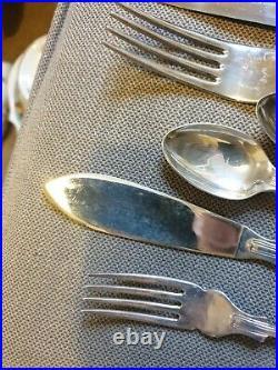 N. Barnett Sheffield 87 Piece Kings Pattern Silver Plated Cutlery Set in Box