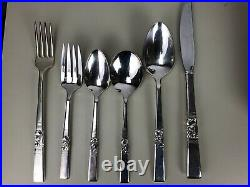 Oneida Community Morning Star 1948 Silver Plate 61 Pieces Flatware Set Art DECO