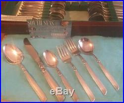 Oneida Community SOUTH SEAS Silver Plate Silverware 55 pieces /Chest 7 Place Set