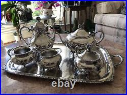PORTSMOUTH-HOLLOWWARE ROPE EDGE-TRAY AND COFFEE, TEA Set 6 Pieces. Gorgeous
