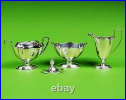 Plymouth by Gorham sterling silver 5-piece tea set. With silver Plated Tray