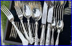 Quality Kings Pattern Silver Plated Canteen Of Cutlery 124 Pieces Unused