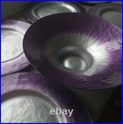 RARE 7 Piece Portmeirion Dusk Large Purple And Silver Glass Charger Plates Bowl