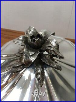 Rare Antique Orchid Christofle Paris Soup Tureen Collectors Piece Silver Plated