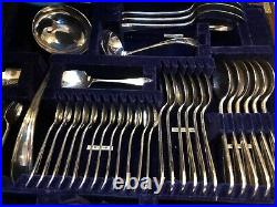 Rare Canteen Cutlery Table 1930s Viners Super A EPNS Silver 12 Person 115 Piece