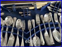 Rattail Design Norman Hirst & Co 12 Place Setting 93 Piece Canteen of Cutlery
