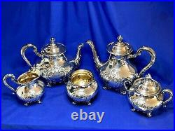 Reed and Barton silverplate 5 piece hand chased Regent tea and coffee set