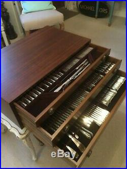 Renaissance 163 Piece Silver Plated Rattail Cutlery + Military 3-Drawer Cabinet
