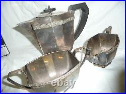 Silver 3 piece tea set elegant Sheffield V. LD 23x16x11cm teapot ART DECO style