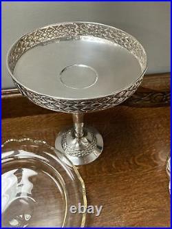 Silver Pedestal Table Centre Piece Dish Bowl Art Deco Style