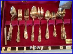 Silver Plate White Orchid Community Oneda FLATWARE Cutlery -78 Pieces with Box