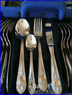 Solingen Edelstahl Rostfrei silver / Gold Plated 70 Piece Cutlery set