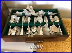 Stunning 103 Piece Canteen Of Silver Plated Cutlery In An Art Deco Fitted Case