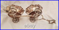 Stunning vintage silver carriage Twin wine bottle holder/ table center piece