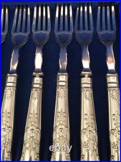 VGC Antique Victorian Oak Cased Canteen Silver Plate 24 Piece Set Fish Cutlery