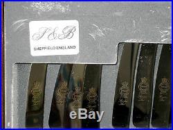 VINTAGE J&B or I&B SHEFFIELD CUTLERY SET 68 PIECE EPNS A1, wooden box scratched