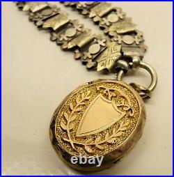 Victorian Silver Plated Bookchain 9ct Gold Mizpah Photo Locket Gorgeous Piece