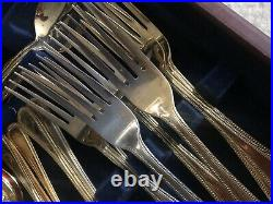 Viners Vinears Beads Pattern 44 Piece Gold Plated Canteen of Cutlery Boxed READ