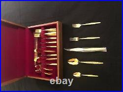 Vintage 1847 50- Piece Rogers Bros. IS Gold- Plated Flatware Set