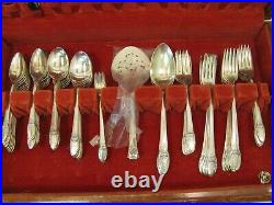 Vintage 1847 Rogers Bros Is Silver Plate Silverware First Love Set 66 Piece