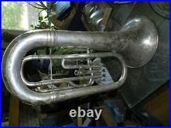 Vintage 1907 York & Sons Euphonium Silver-Plated Tuba In case no mouth piece