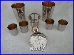 Vintage 1930's Silverplated German Cocktail Shaker 12 Piece Set Very Rare