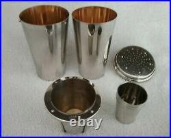 Vintage 1930's Silverplated German Cocktail Shaker 8 Piece Set Very Rare