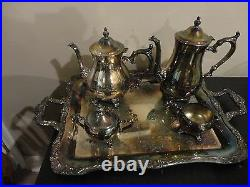 Vintage 1970's Wm Rogers 800 Silver Plated 5 Piece Tea Coffee With Tray