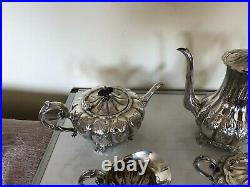 Vintage 4 Piece Highly Decorated Silver Plated Tea/coffee Service On 4 Feet P-6e