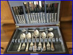 Vintage 60 piece, 8-place Silver-Plate Sheffield Cutlery with Bead edging in box