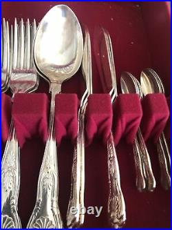 Vintage A E Poston Kings Pattern Silver Plated Canteen Cutlery Firth X 56 Pieces