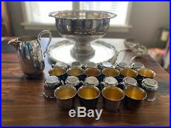 Vintage Antique Sheridan 27 Piece Sterling Silver Plated Punch Bowl Cup Tray Set