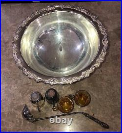 Vintage Antique Sheridan 6 Piece Sterling Silver Plated Punch Bowl Cup Ladle Set