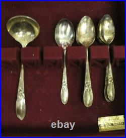 Vintage Community Plate WHITE ORCHID Silver Plate Silverware 62 Pieces In Case