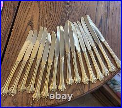 Vintage FB Rogers gold plate with box 87 piece American Chippendale Pattern
