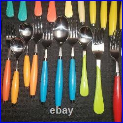 Vintage Fiestaware Flatware Utensil Lot 39 Pieces Multicolored