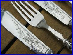 Vintage Mother of Pearl Fish Knives & Forks Silver Plated 24 Piece In Canteen