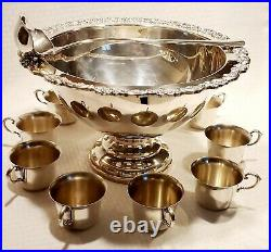 Vintage Oneida Silversmiths Silverplate (12) Piece Punch Bowl Set Beautiful